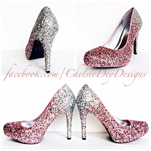Glitter High Heels - Silver Pink Pumps - Light Pink Silver ...