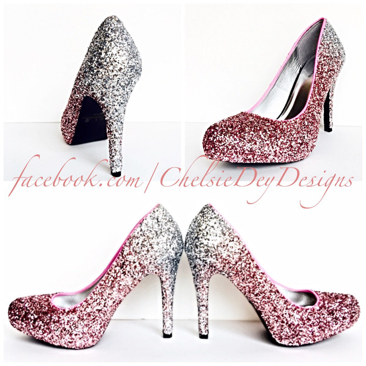 9cbec4b69400 Glitter High Heels - Silver Pink Pumps - Light Pink Silver Ombre Platform  Pumps - Sparkly