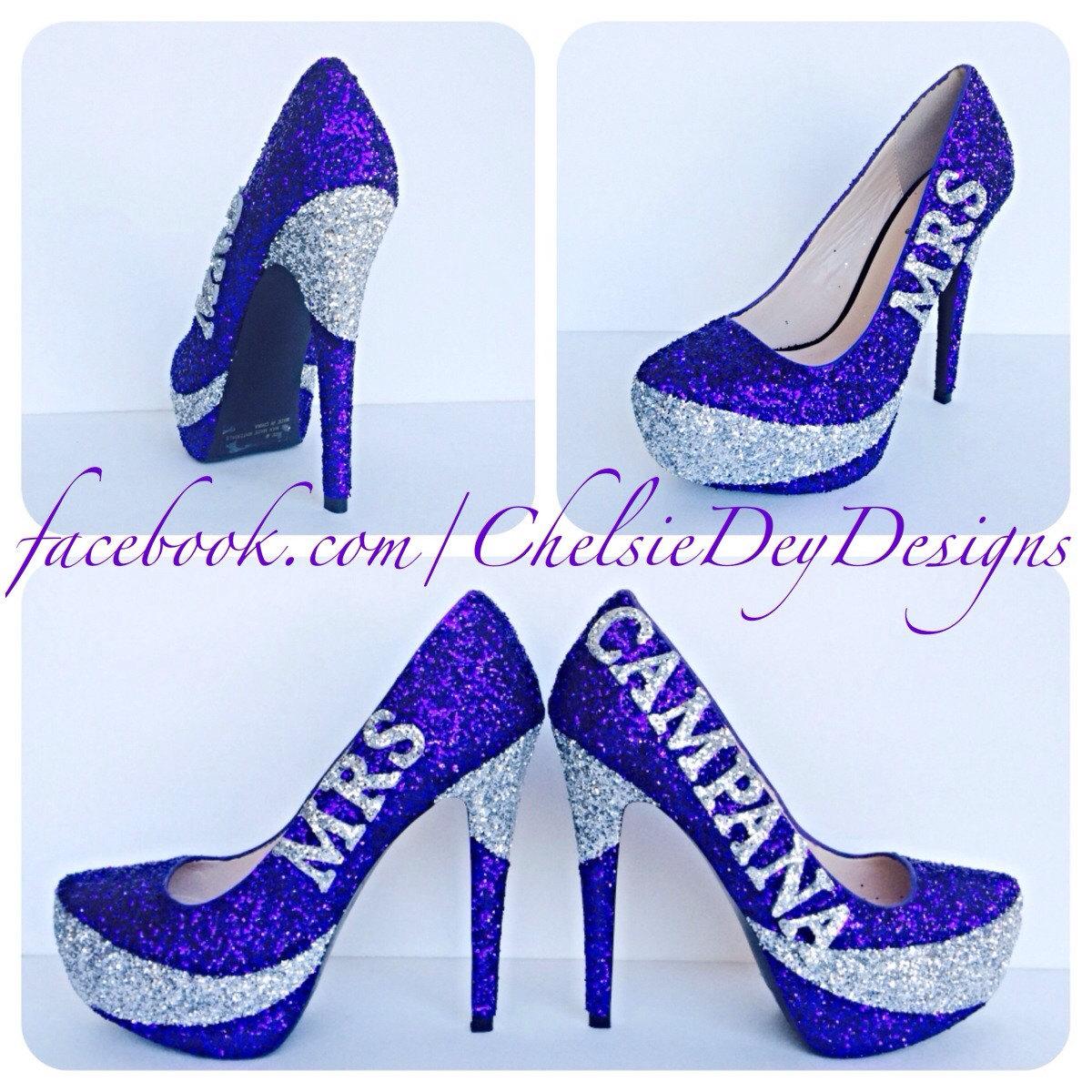 Purple Glitter High Heels, Eggplant Wedding Platform Pumps, Last ...