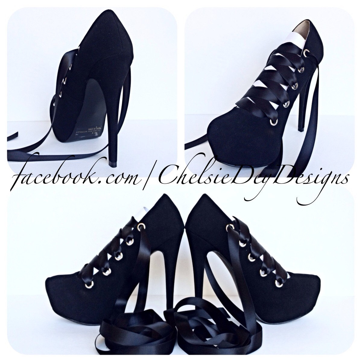 40957ca8427 Black High Heels, Faux Suede Corset Pumps, Laced Ribbon Ballerina Shoes  from Chelsie Dey Designs