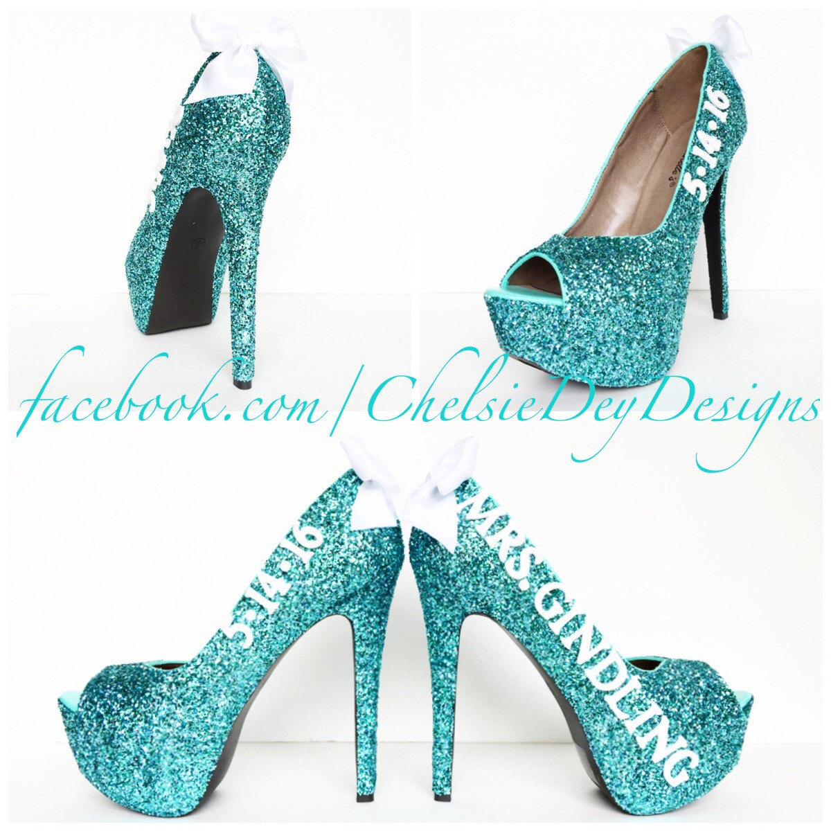 f3a11cca3926 Glitter High Heels - Robins Egg Blue Wedding Date & Name - Open Peep Toe  Pumps