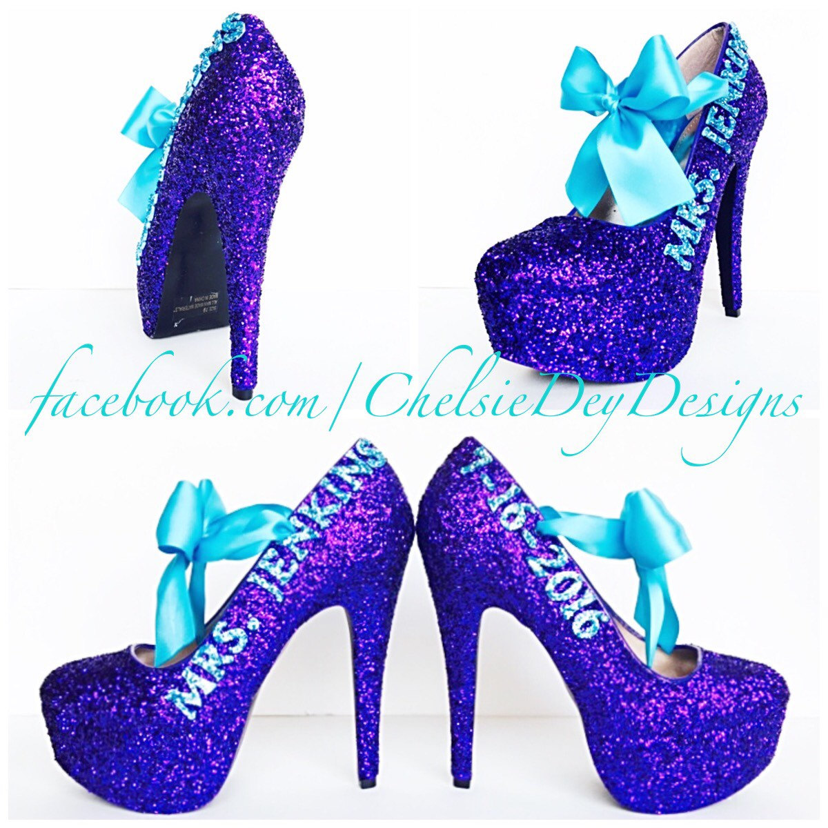 Glitter High Heels - Wedding Pumps - Last Name and Date - Purple ...