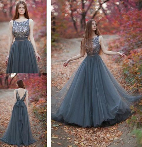 A Line Grey Tulle Long Prom Dresses 2016 Evening Dresses