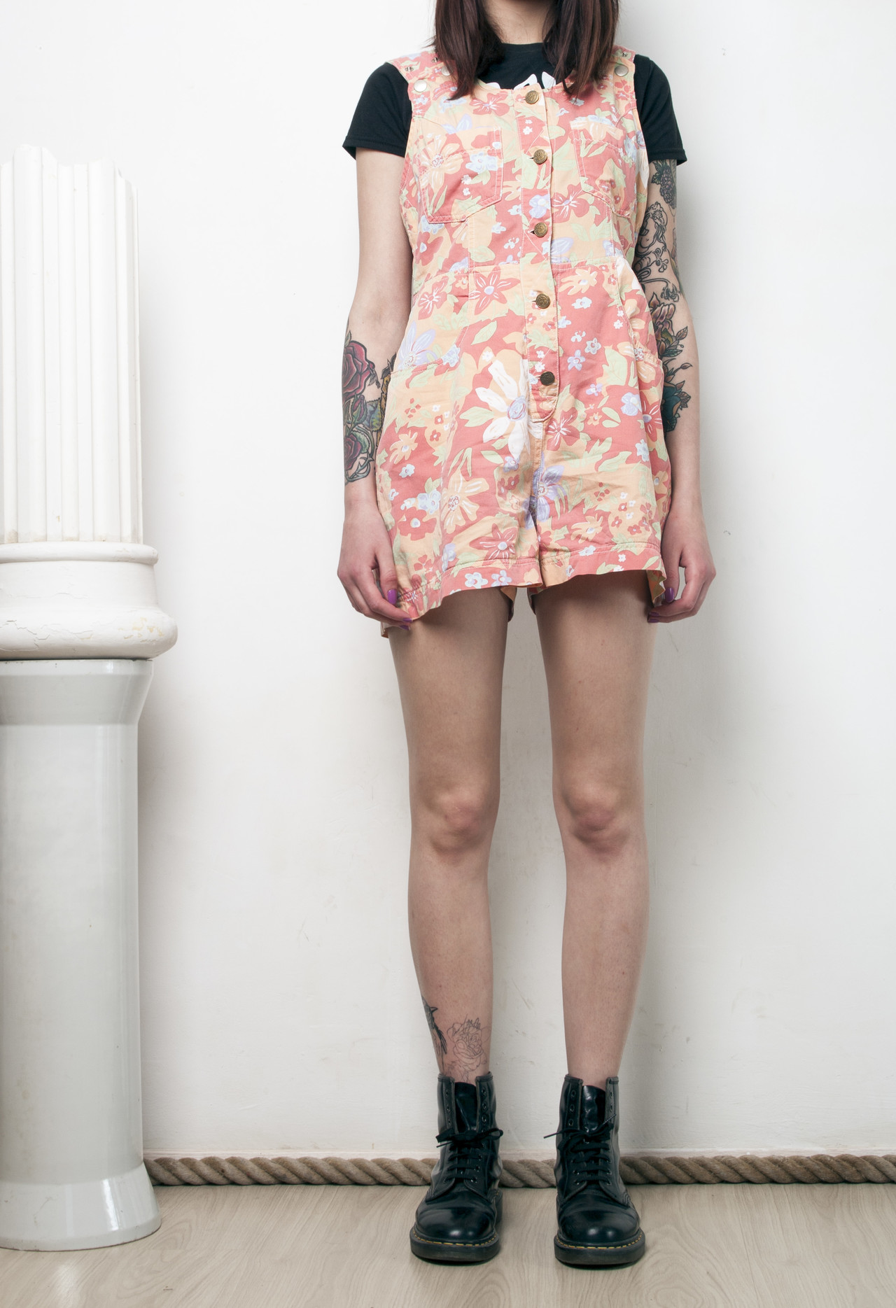 30db3274e8 Floral dungarees 90s vintage peach playsuit on Storenvy