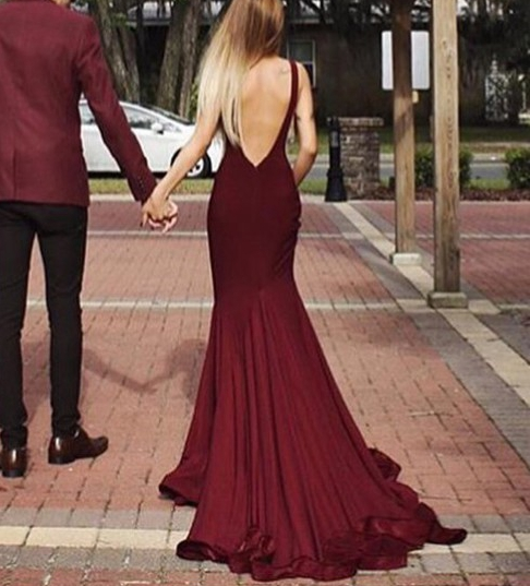 Stylish long prom dresses,A-line burgundy backless prom dress,2016 ...