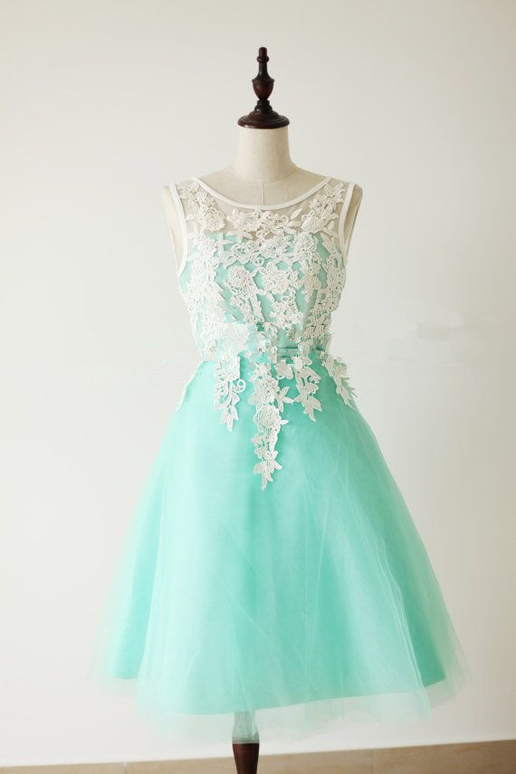 Lace Homecoming Dress,Lace Prom Dress,Cute Homecoming Dress,Mint ...
