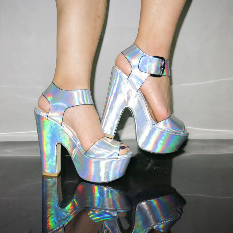 d35aef54e77 Hologram High Heels Sandals Party Shoes Plus Size 35-41 on Storenvy