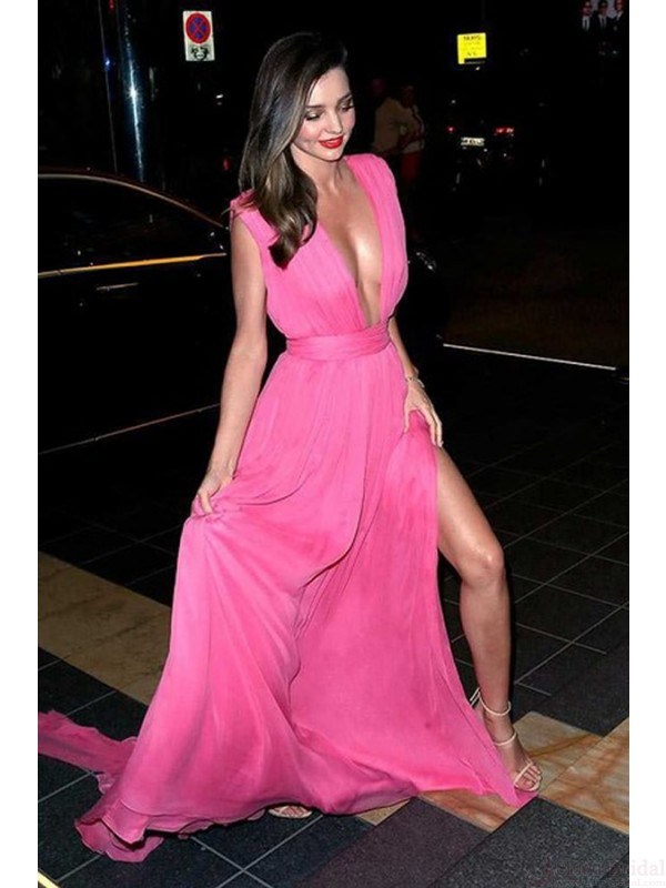 Hot pink prom dresses, deep v-neck prom dresses, side slit prom ...
