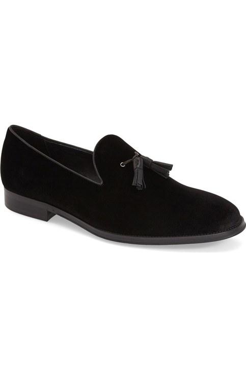 Handmade Men Black Suede Tassels Loafer Mens Black Casual