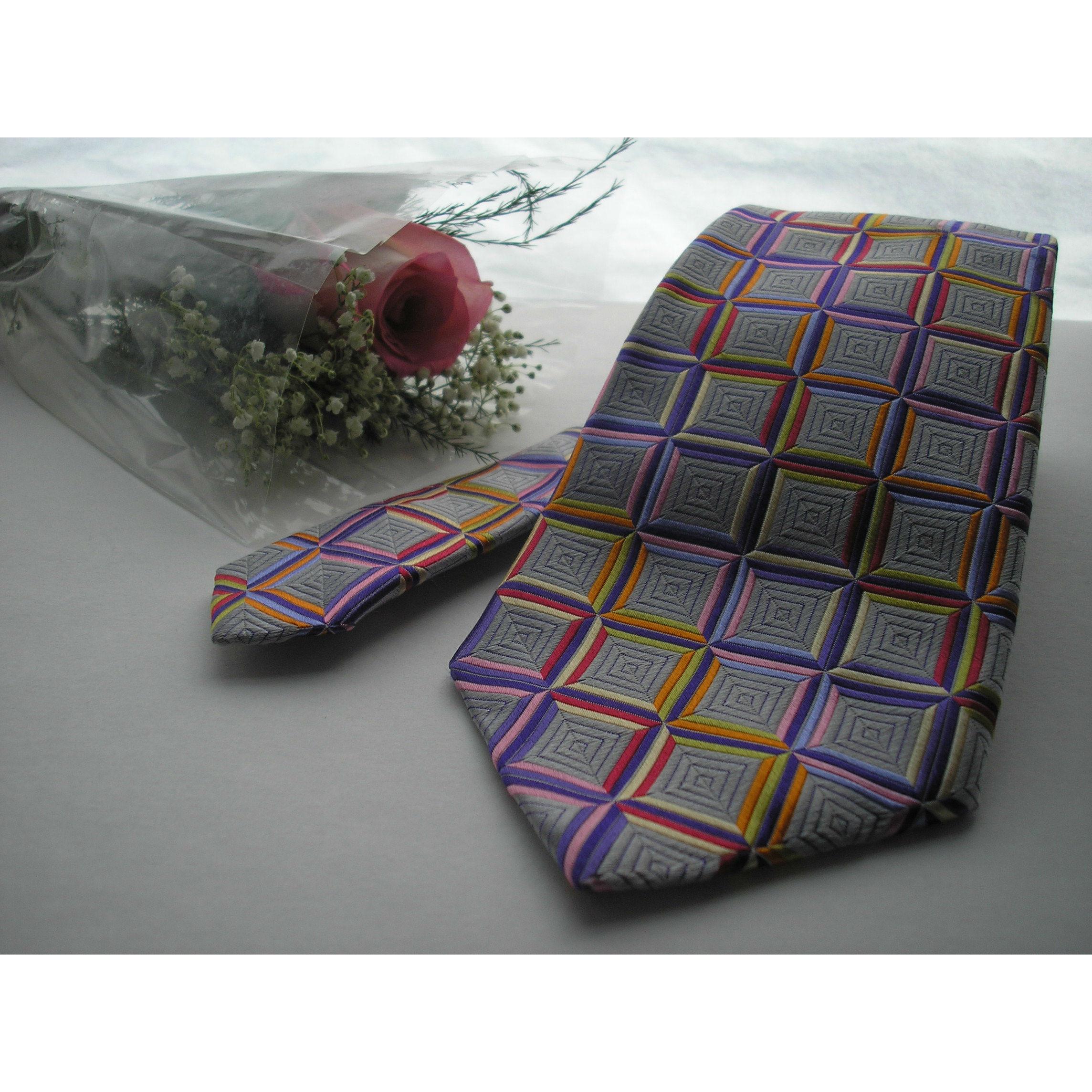 Robert Talbott Lavender with Multi Color Flowers Best of Class Tie