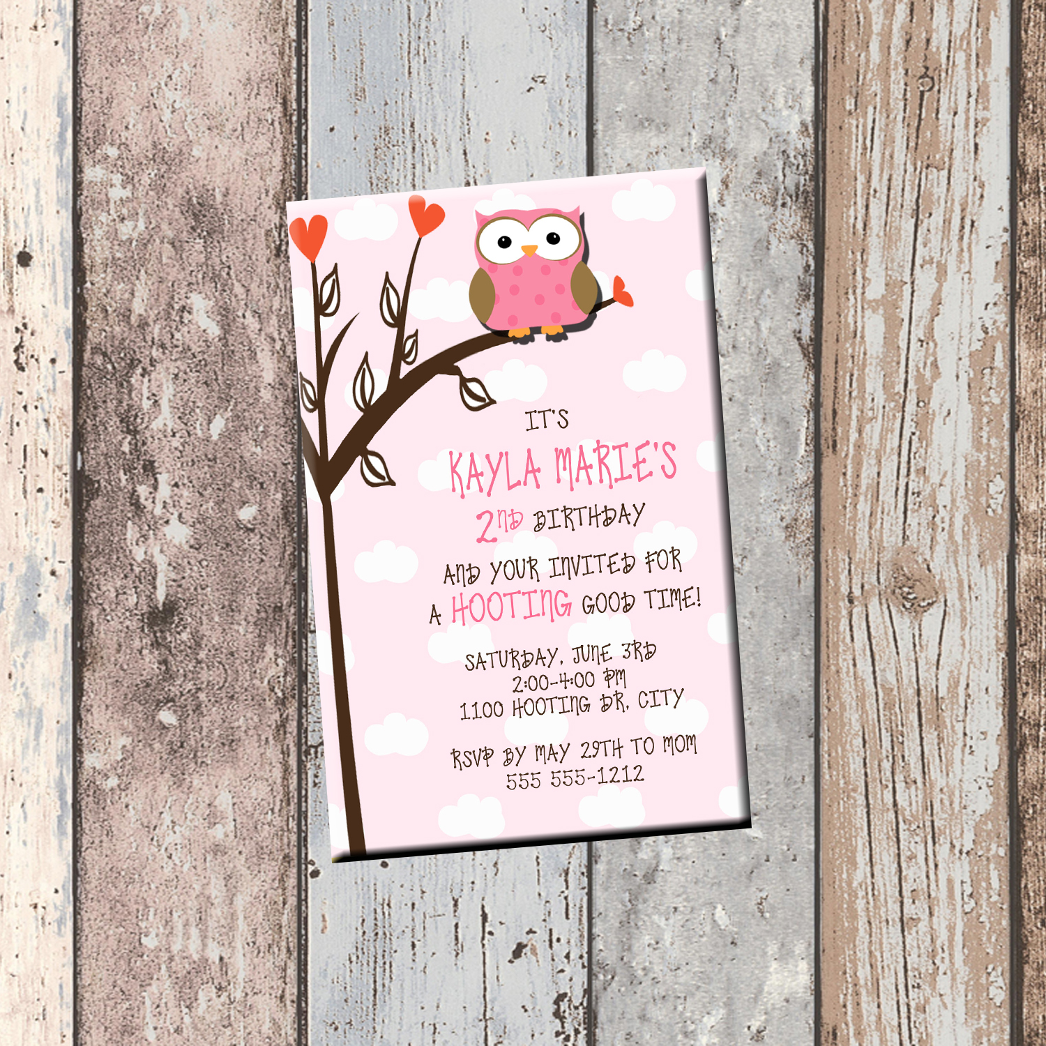 Owl Personalized Birthday Invitation 1 Sided Card Party