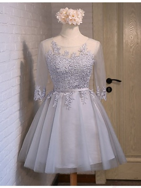 Baby Blue Lace Tulle Long Sleeves Homecoming Dresses Back
