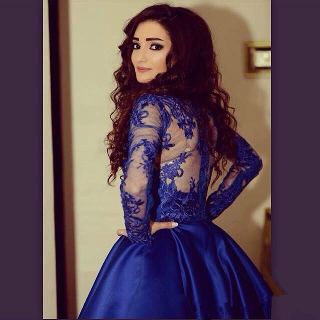 01aa53a3fdc ... New arrival long sleeves royal blue lace homecoming dresses