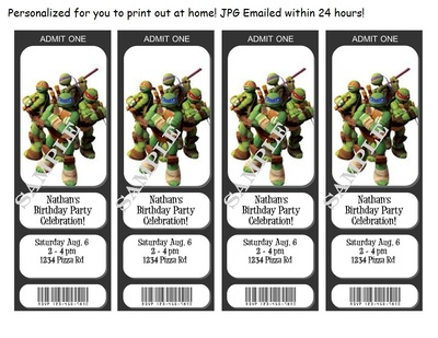 graphic regarding Ninja Turtles Birthday Invitations Printable referred to as Ninja Turtles Birthday Invites/Tickets - custom-made - Your self Print electronic jpg printable versus