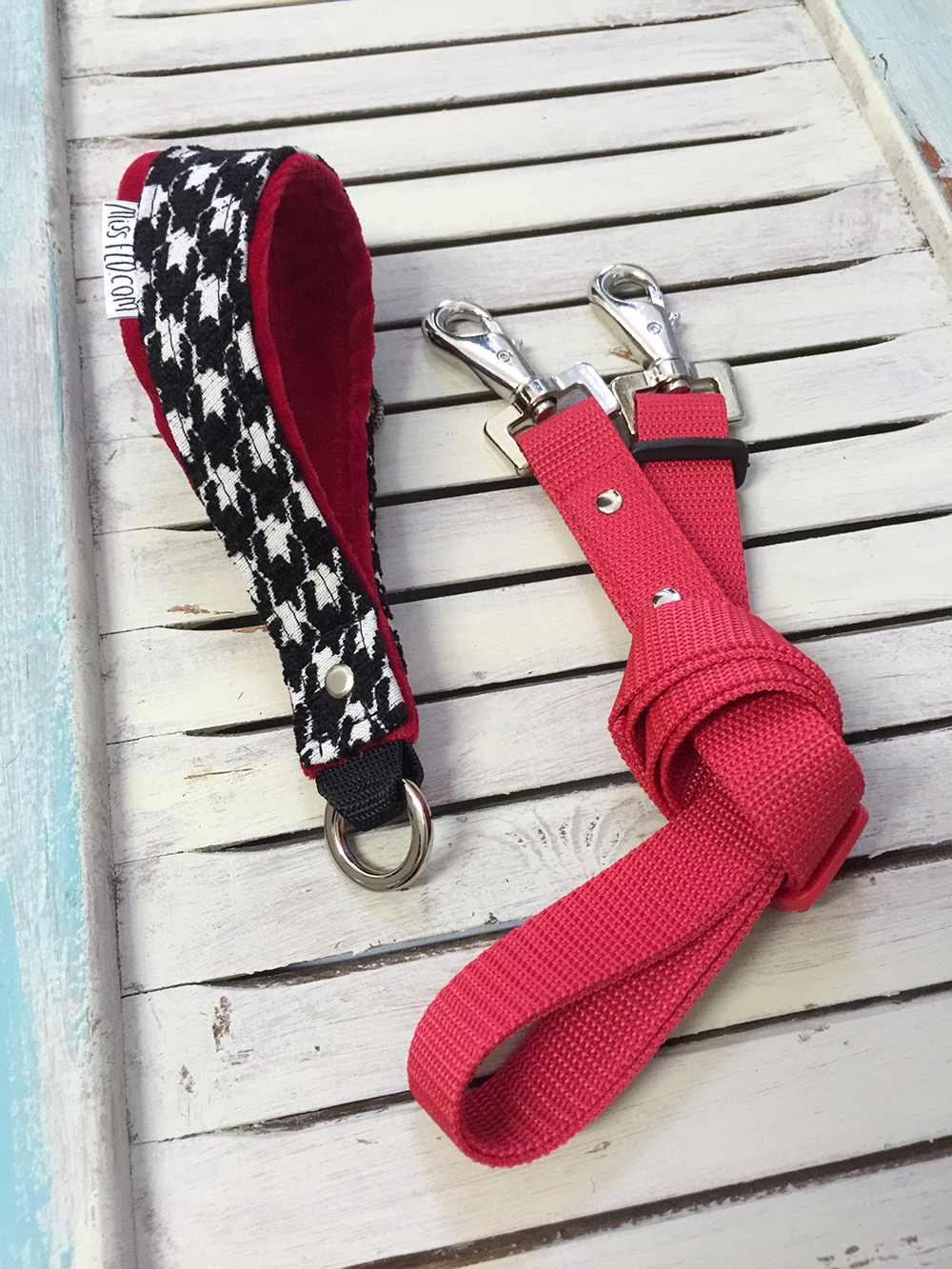 Handmade Dog Leash Complete Handle And Leash Part Black White