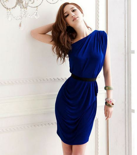 One Shoulder Casual Sexy Women Party Mini Dress with Belt on Storenvy
