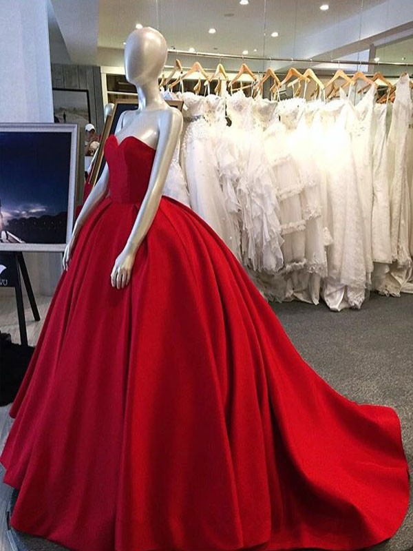 Long prom dress,Red ball gown, sweet heart prom dress, simple ...