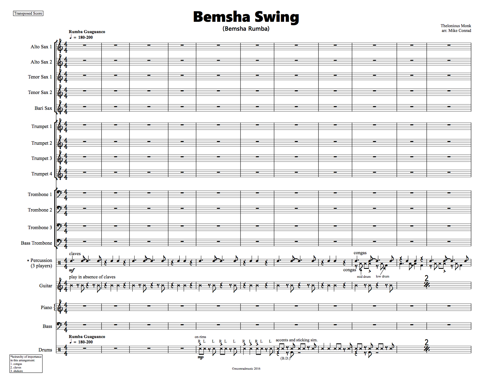 Bemsha Swing Big Band Arrangement Rumba From Mconrad Music Store