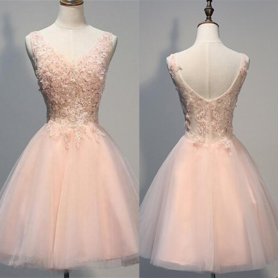 c74e9ae33a04 Open Back Handmade Short Homecoming Dresses,Blush Pink V-neck Homecoming  Dresses,Short