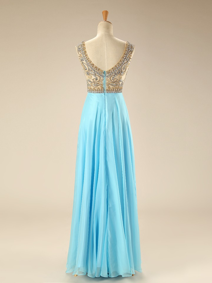 charming prom dress,blue chiffon prom dress,long evening dress,long ...