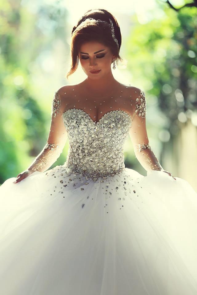 61c17e0fbde1 Wedding Dress Ball Gown White Sheer Neck Beads Rhinestones Tulle Wedding  Dresses Bridal Gown