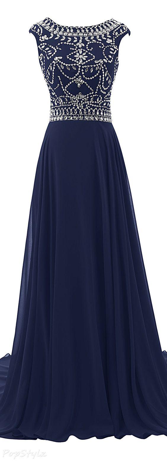 new arrival navy blue prom dress,sweep train prom dress,chiffon long ...