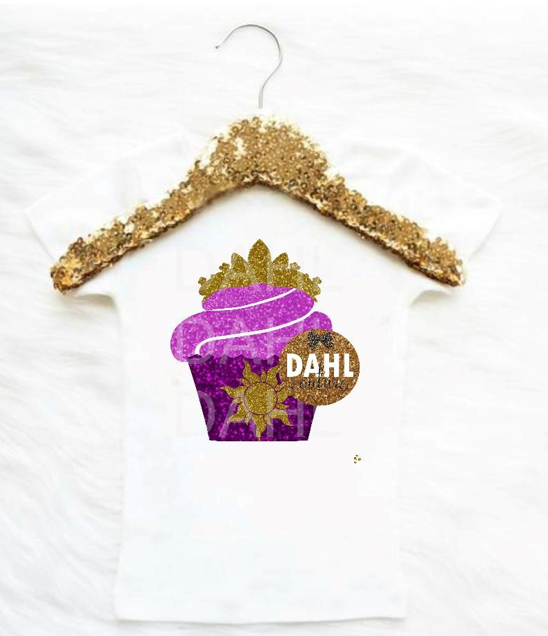 Rapunzel Birthday One Of A Kind Custom Designed Glitter Cupcake In Tangled Inspired Colors And Design