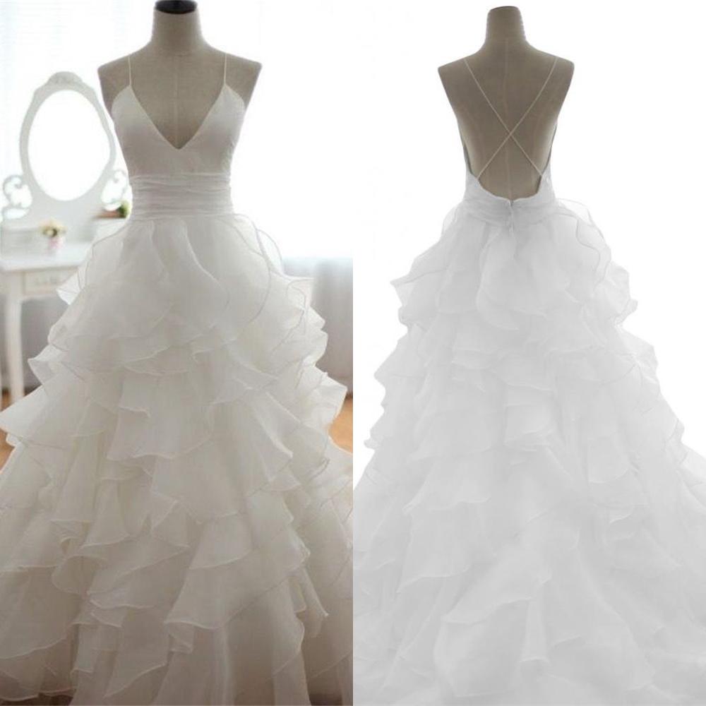 Spaghetti Straps Handmade Simple Wedding Dresses,Long Wedding Dress ...