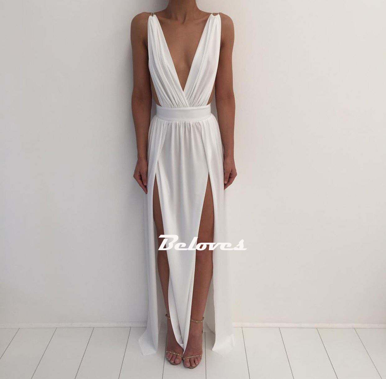 White Deep V Neck Backless Maxi Long Party Dress With Two Side Slit ...