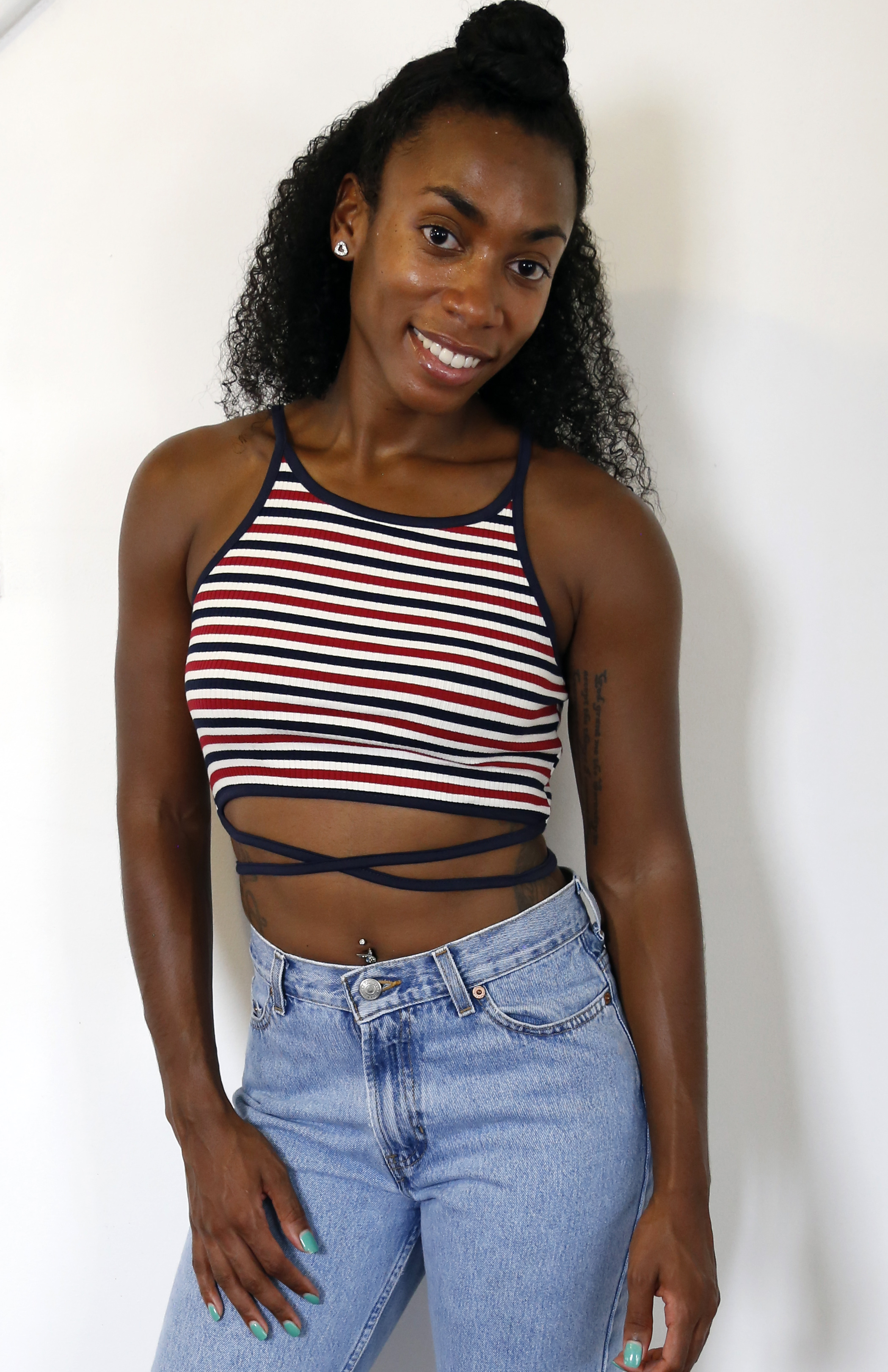 ca3ef1f22de96 Sporty Spice Crop Top (Navy Red) · mod maya · Online Store Powered ...