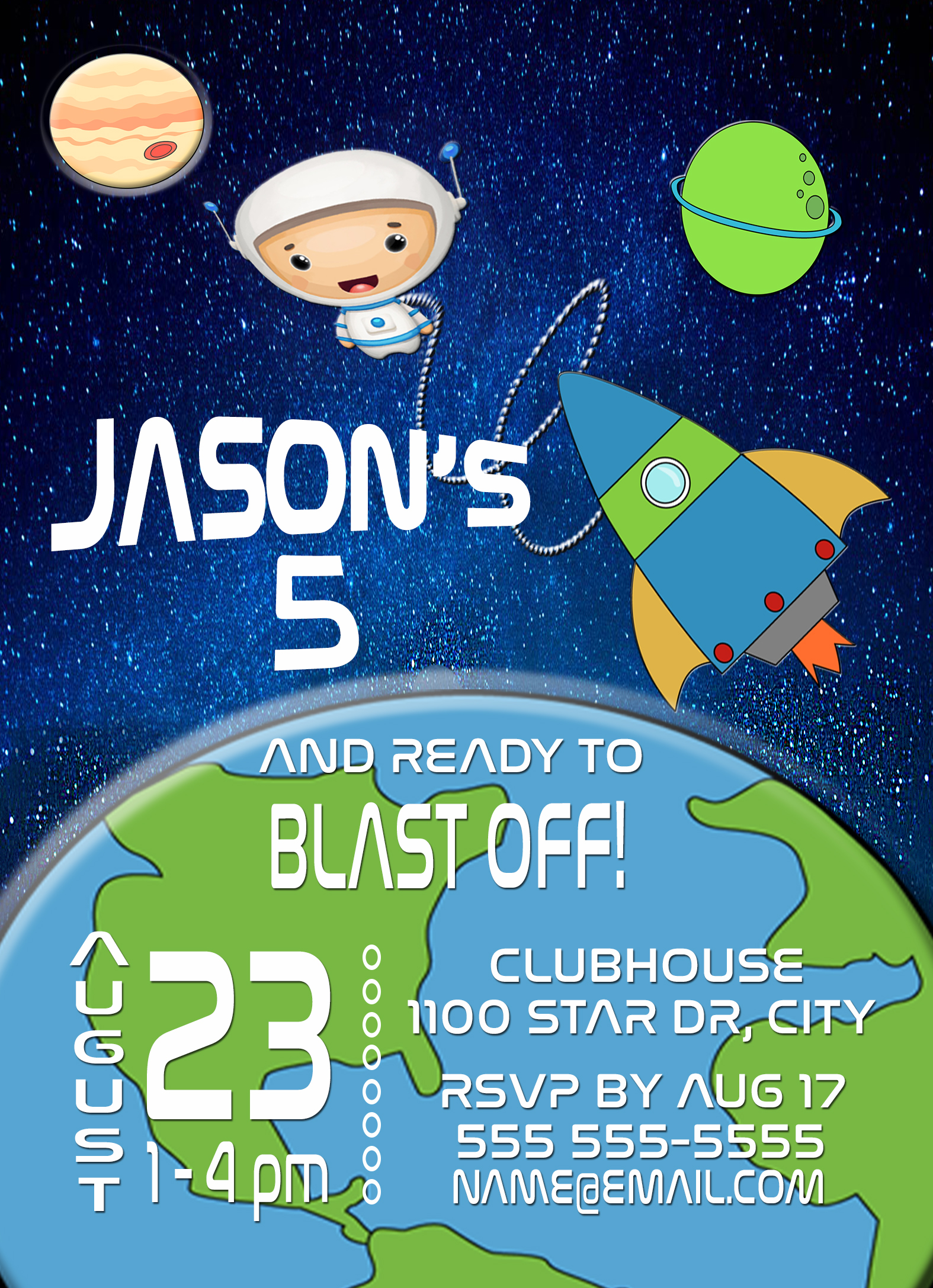 Space Rocket Spaceship Personalized Birthday Invitation 1 Sided Card Party From SCG Designs