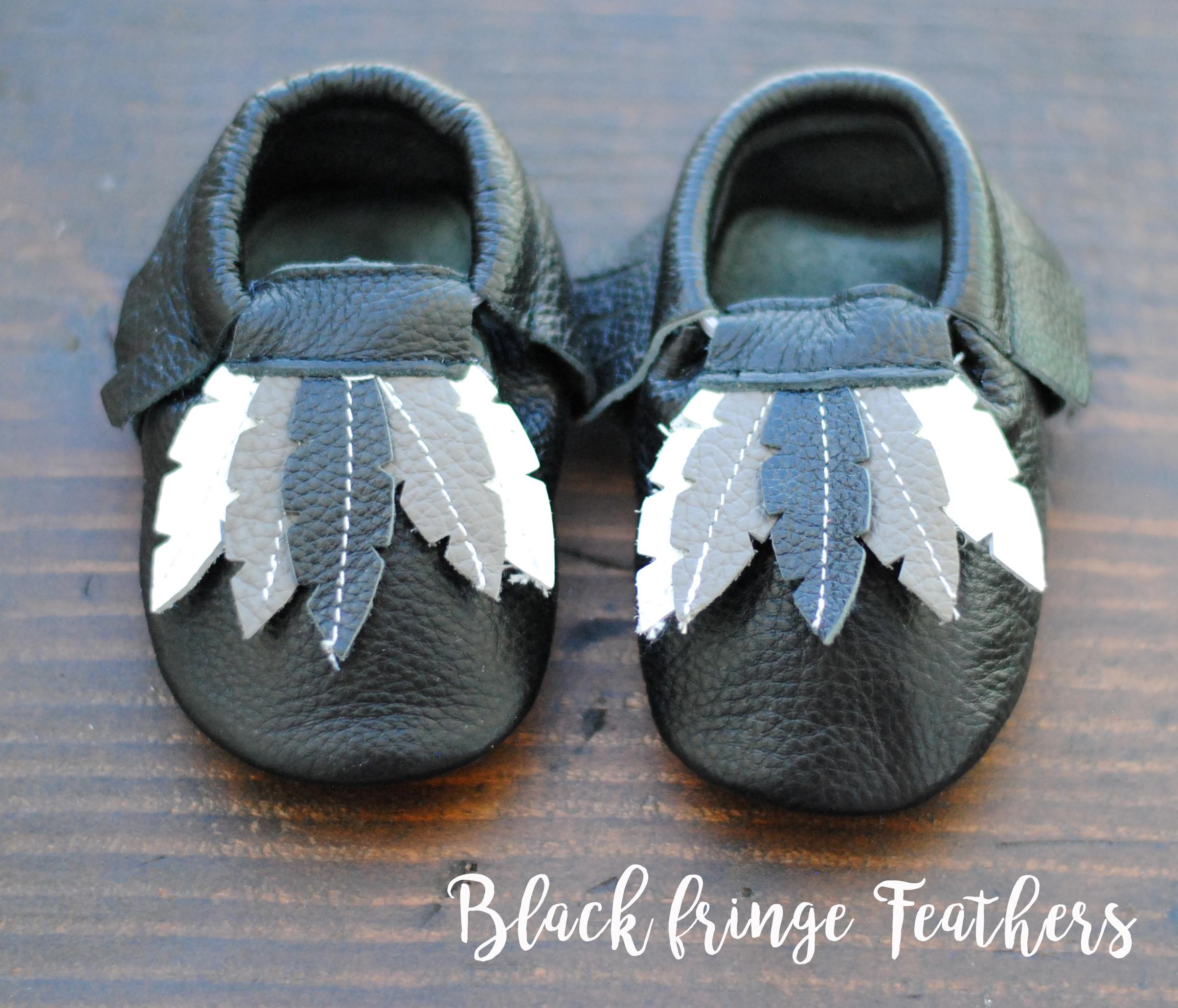 Leather Baby Moccasins Black Fringe