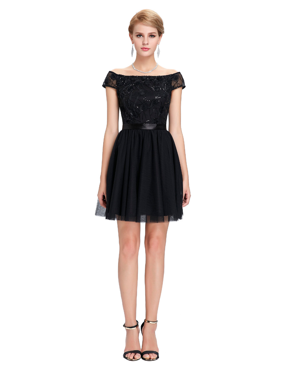 Sexy Off Shoulder Short Black Evening Dress Robe De Soiree Courte ...