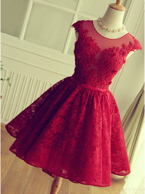 Cute Red Knee,length Red Short Lace Christmas Party Dresses