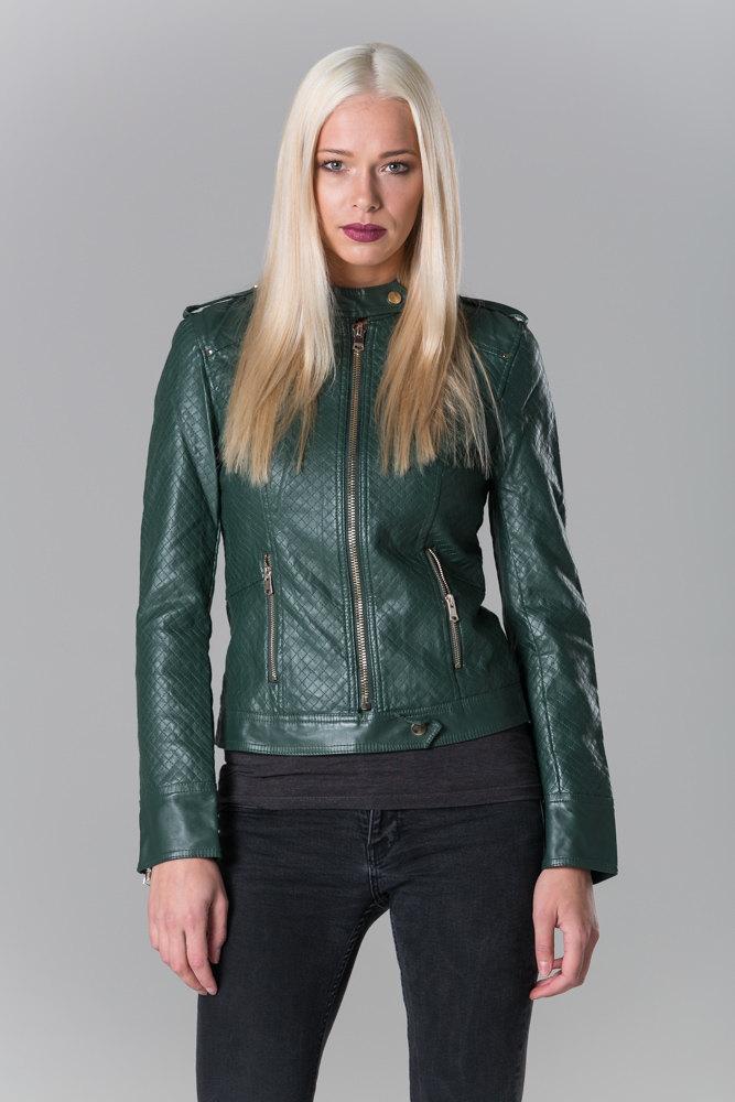 Polar Whites Women Ladies Off Bottle Green Faux Leather Racing Biker