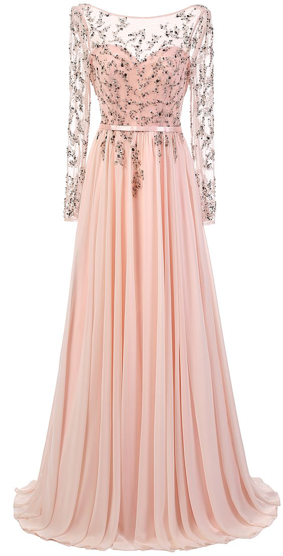 New Fashion Evening Dresses Sparkly Long Sleeves Blush Pink Prom ...