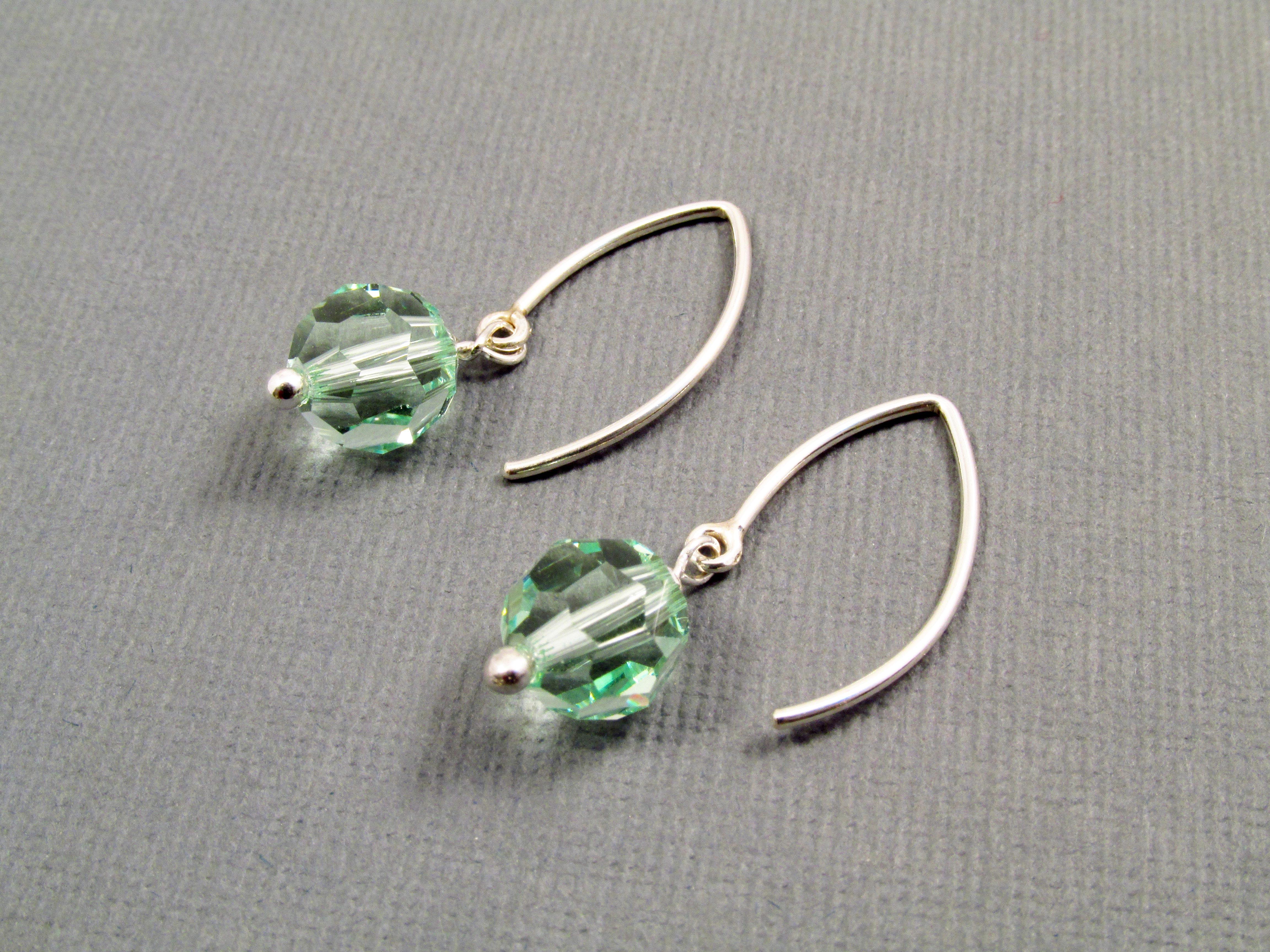 15d922e65 Light green earrings, Swarovski earrings, 1 inch long, sterling ...