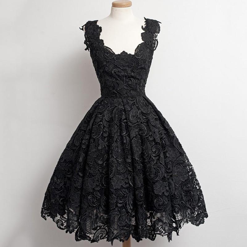 b269ce535e Vintage Style Little Black Lace Homecoming Dress Short Prom Dress on ...