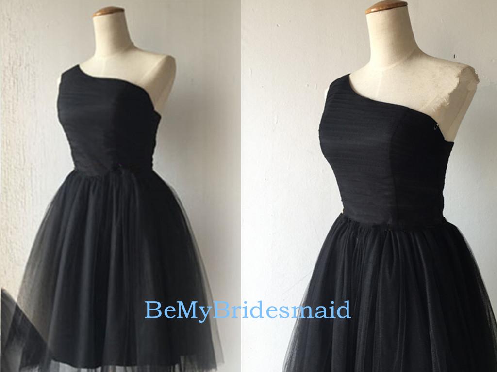 121f8f2c67b Beautiful Short Black Tulle One Shoulder Homecoming Dresses