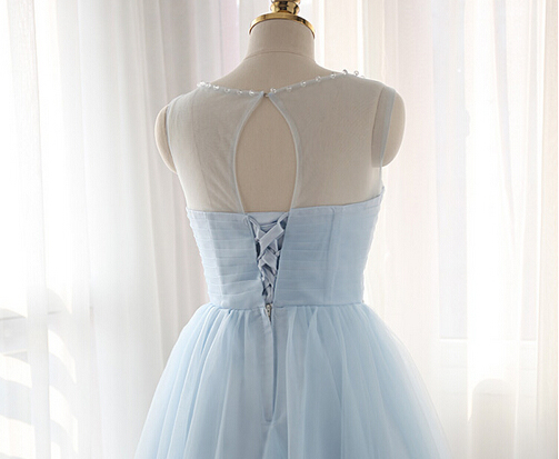 21301f8506f Light Blue Illusion Tulle Cocktail Dress With Keyhole Back - Thumbnail 1 ...