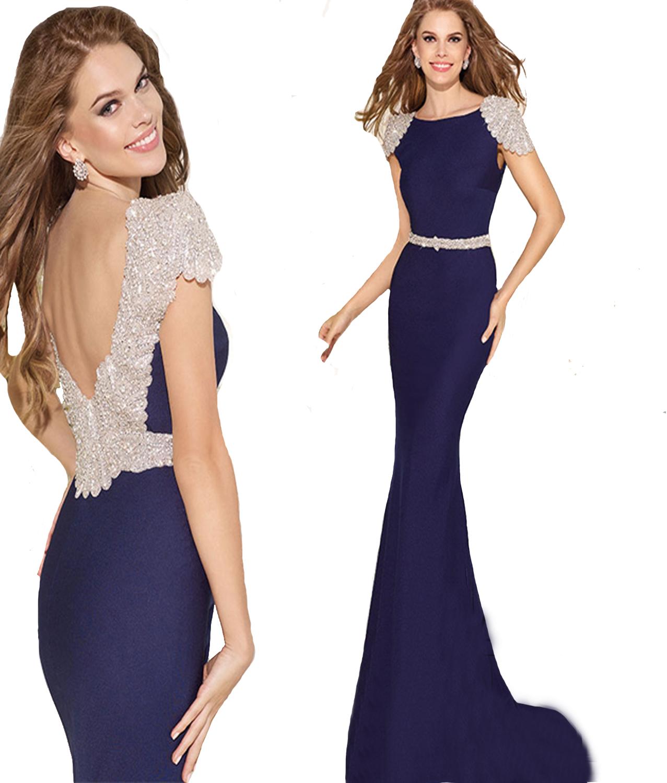 39664de2926e J169 Cap Sleeve Backless Royal Blue Long Mermaid Evening Dresses ...