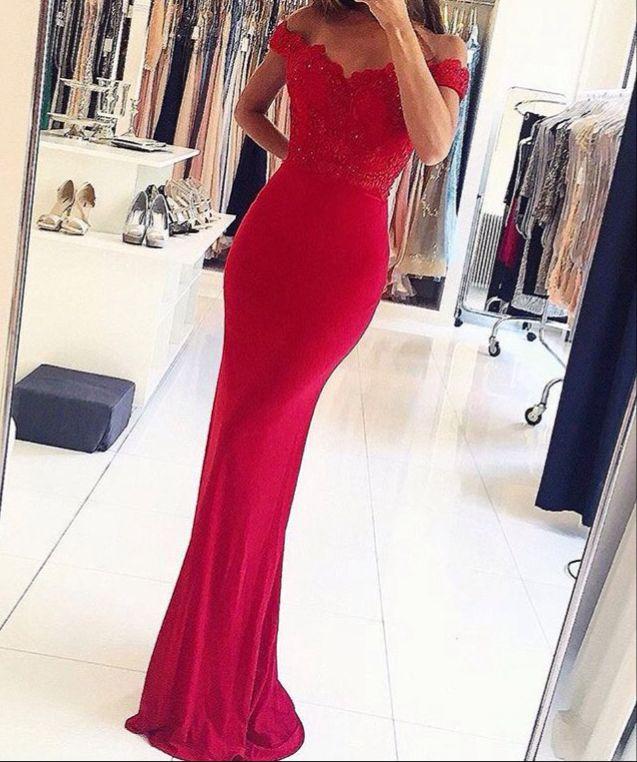 bd02d6f55d01 Custom made mermaid lace off shoulder long prom dresses