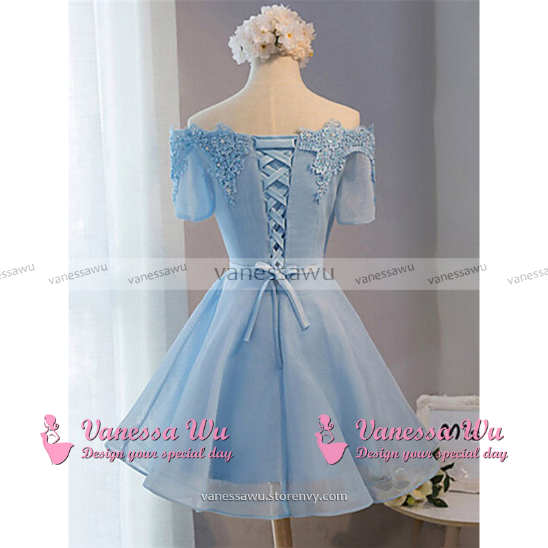 Elegant Ice Blue Homecoming Dresses, Princess Off-the-shoulder ...
