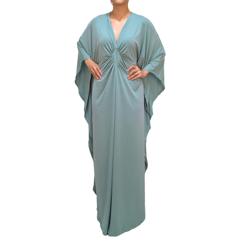 Bridesmaid Wedding Party Plus Size Maxi Kaftan Dresses Green Teal