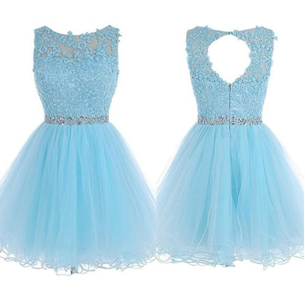 Light Blue Lace Beaded A,line Homecoming Dresses,Short Prom Dresses,Simple  Cheap Homecoming Dress For Teens from 21weddingdresses
