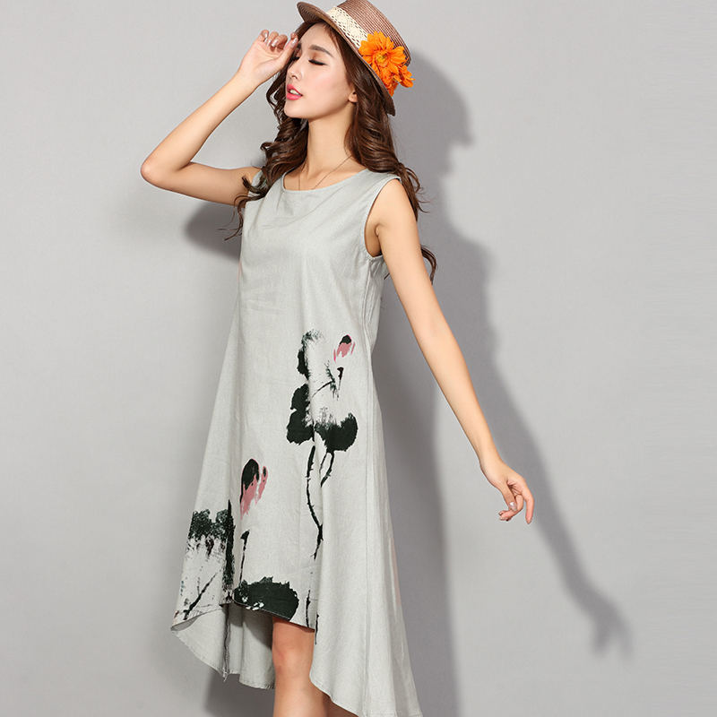 ce465e7723 ... Fashion China Style Flower Print Sleeveless Comfortable Cotton Linen  Casual Dress Women Summer Dresses Hot Sale ...