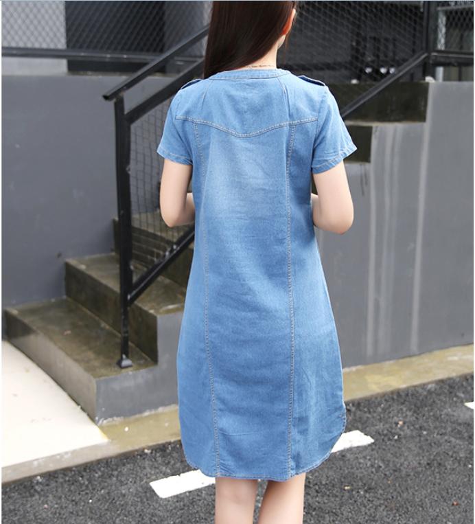 dbd82f8a086 ... Line Denim Dress Women V-neck Short Sleeve Slim Casual Office Denim  Jeans Dress Vestidos ...