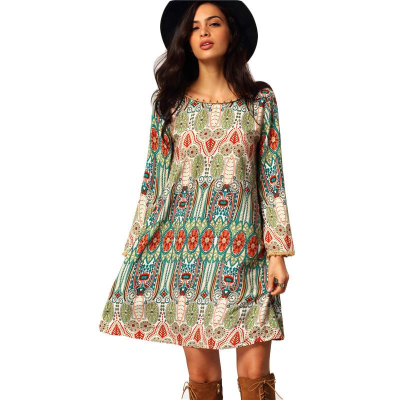 6dcca3d9120a Vintage 2016 Online Shop Clothing Brand Casual Women Crew Neck Aztec Print  V Back Shift Long ...