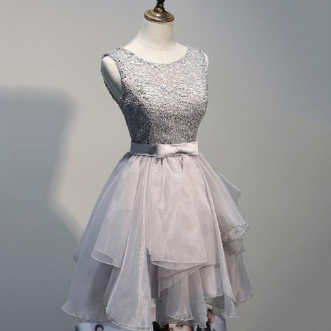 Affordable Gray Lace Homecoming Dresses, Short Princess