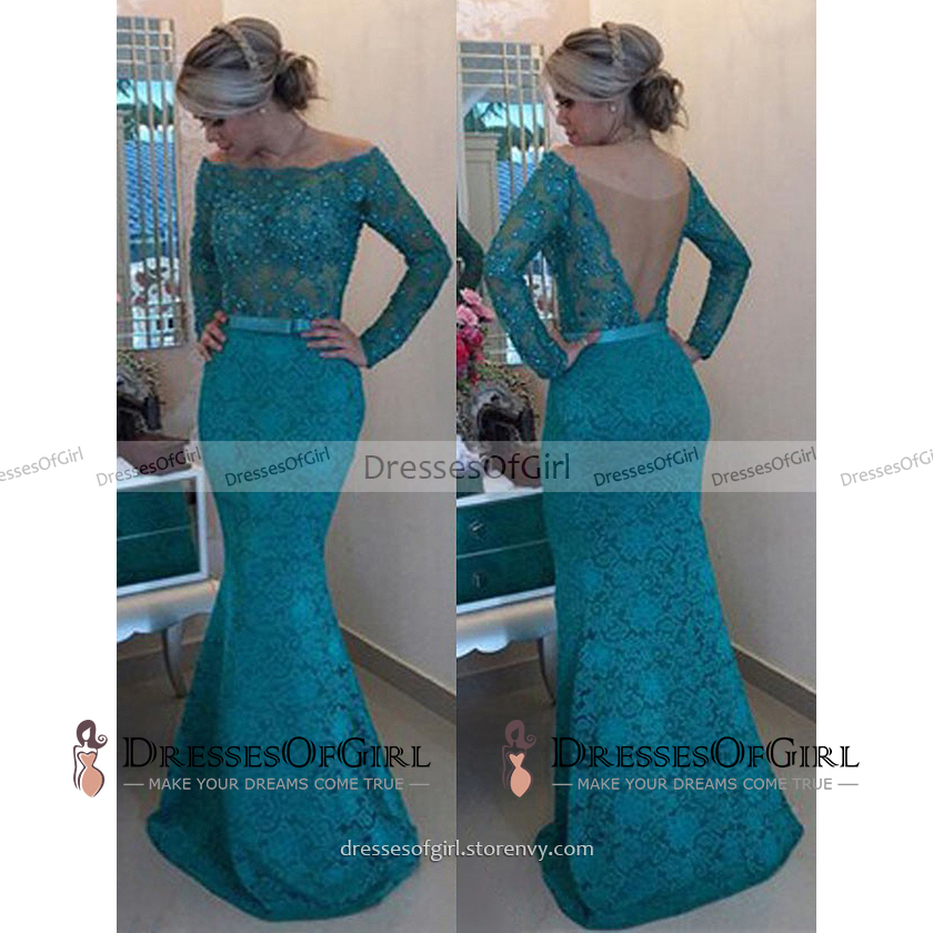 Teal Lace Long Prom Dresses